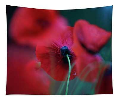 Red Corn Poppy Flowers Tapestry