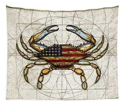 4th Of July Crab Tapestry