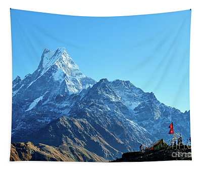 Tapestry featuring the photograph Machapuchare Mountain Fishtail In Himalayas Range Nepal by Raimond Klavins
