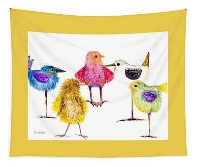 5 Silly Birds Tapestry