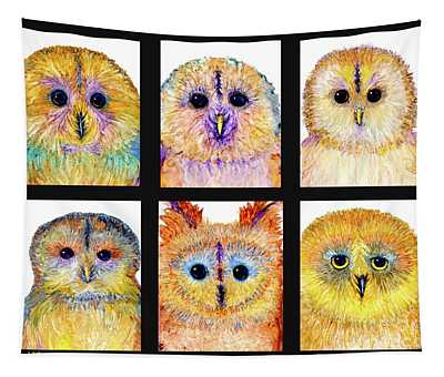 6 Silly Owls Tapestry