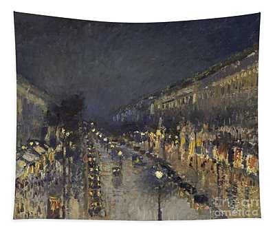 The Boulevard Montmartre At Night Tapestry