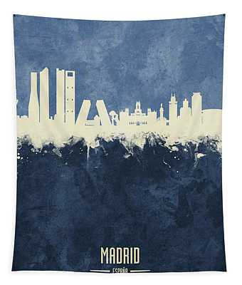 Madrid Spain Skyline Tapestry