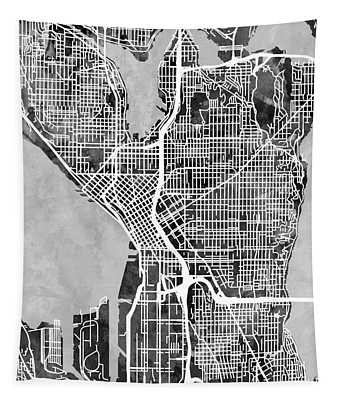 Seattle Washington Street Map Tapestry