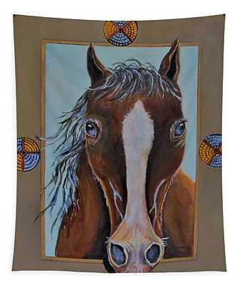 A Blue Eyed Horse Tapestry