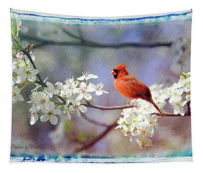 A Cardinal In A Pear Tree Tapestry