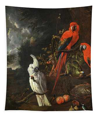 A Citron-crested Cockatoo, Two Red Macaws, A Green Parrot And A Marmoset, With Apples And Figs Tapestry