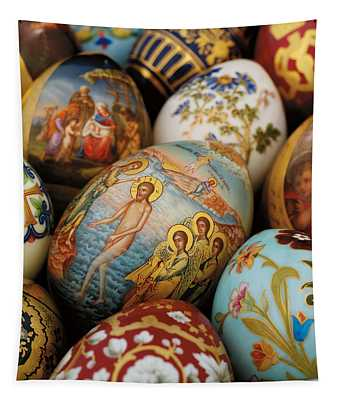 A Collection Of Painted Porcelain Easter Eggs By The Imperial Porcelain Factory Tapestry
