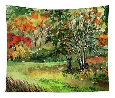 A Couple Of Deers In The Fall Woods Tapestry