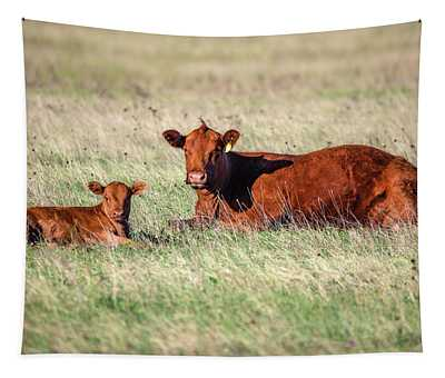 A Cow And Her Calf Tapestry