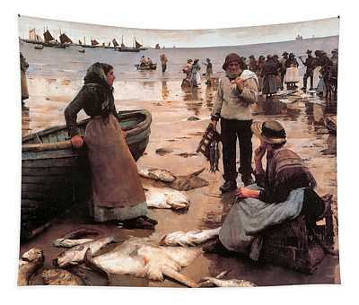 A Fish Sale On A Cornish Beach 1855 Tapestry