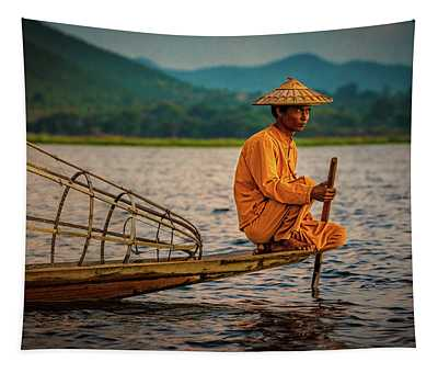 A Fisherman Of Inle Lake Tapestry