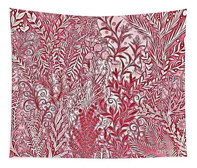 A Garden Painting In Pink And Red Tapestry
