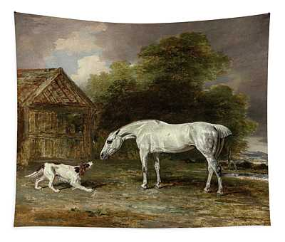 A Grey Hunter And A Spaniel, 19th Century Tapestry