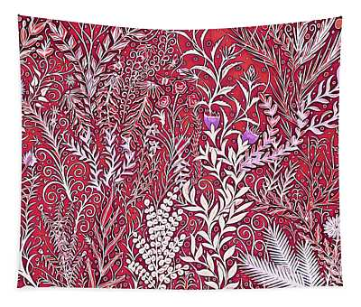 A Jumble Of A Garden In Red And Purple Tapestry