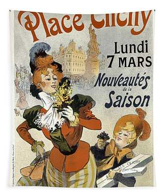A La Place Clichy Bouquets Vintage French Advertising Tapestry