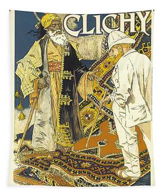 A La Place Clichy Vintage French Advertising Tapestry