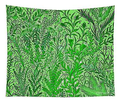 A Light Green Chaotic Garden Tapestry