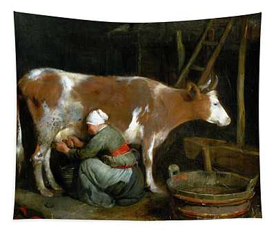 A Maid Milking A Cow In A Barn Tapestry