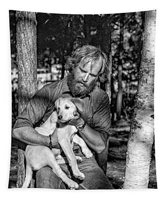 A Man And His Dog 2 Bw Tapestry
