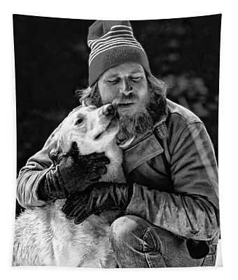 A Man And His Dog 3 Bw Tapestry