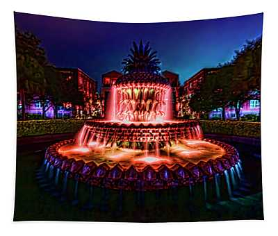 A Painterly Vision Of Charleston's Pineapple Fountain Tapestry