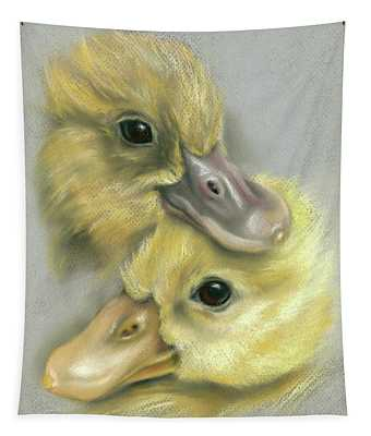A Pair Of Friendly Ducklings Tapestry