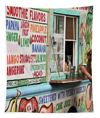 A Smoothie Truck At A Roadside Fruit Stand, Maui, Hawaii Tapestry