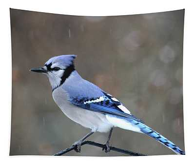 A Snowy Day With Blue Jay Tapestry