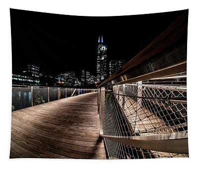 A View From The New South Riverwalk In Chicago Tapestry