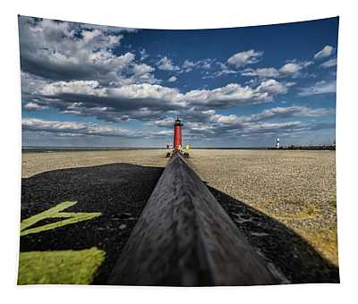 A Wide Angle Look At Pretty Skies By Lake Michigan Tapestry