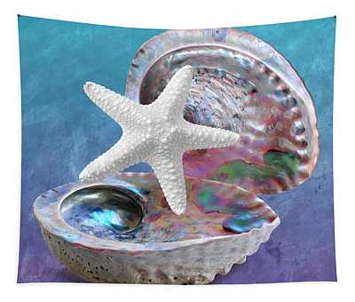Abalone And Sea Star Blues Tapestry