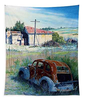Abandoned Farm And Cars Tapestry