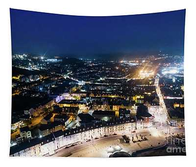 Aberystwyth At Night From The Air Tapestry