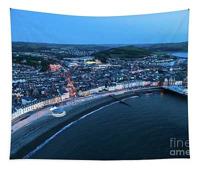 Aberystwyth From The Air At Night Tapestry