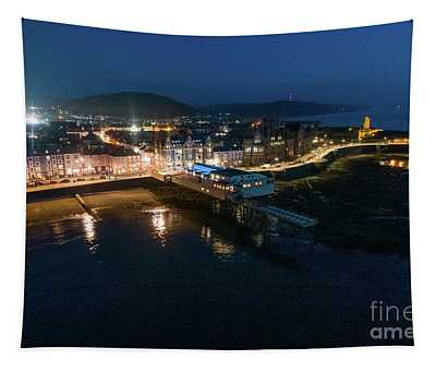 Aberystwyth Wales At Night From The Air Tapestry