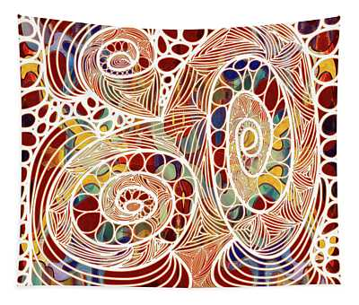 Abstract Bold Colors And Joyful Circles Digital Mixed Media By Omaste Witkowski Tapestry