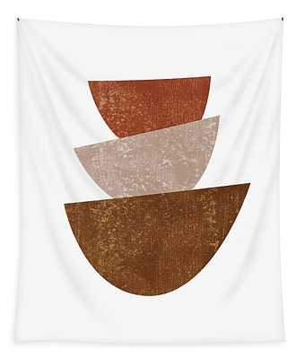 Abstract Bowls 2 - Terracotta Abstract - Modern, Minimal, Contemporary Print - Brown, Beige Tapestry