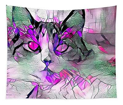 Abstract Calico Cat Purple Glass Tapestry