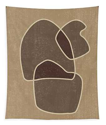 Abstract Composition In Brown And Tan - Modern, Minimal, Contemporary Print - Earthy Abstract 1 Tapestry