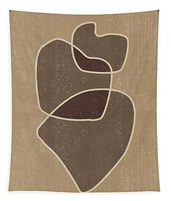 Abstract Composition In Brown And Tan - Modern, Minimal, Contemporary Print - Earthy Abstract 3 Tapestry