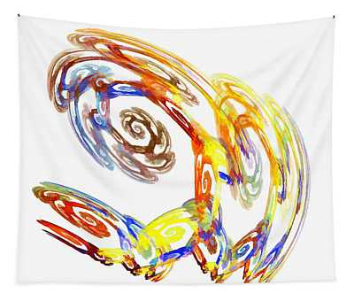 Abstract Crab Yellow Tapestry