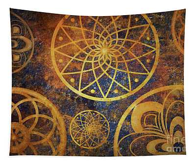 Abstract Fantasy Space With Golden Circle Pattern. Art Wallpaper Tapestry