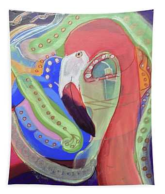 Abstract Flamingo Tapestry
