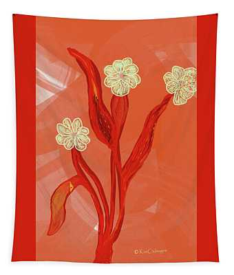 Abstract Flowers On Coral Background Tapestry
