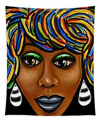 Abstract Art Black Woman Retro Pop Art Painting- Ai P. Nilson Tapestry