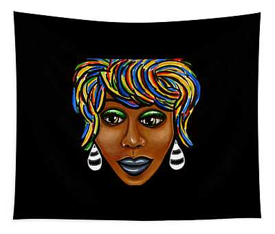 Abstract Art Black Woman Retro Pop Art Painting- Ai P. Nilson Tapestry