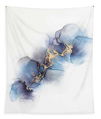 Abstract Gold And Purple, Blue Petals Tapestry