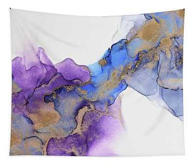 Abstract Gold And Purple Waves Painting Tapestry
