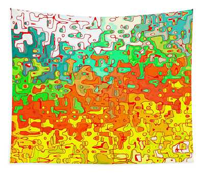 Abstract In Red Orange Yellow And Green - Dwp12386061 Tapestry